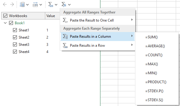 Aggregate ranges separately and paste the results in a row or in a column.