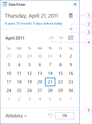 The Date Picker pane.