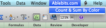 Click on Count and Sum by Color name under the Ablebits.com tab.
