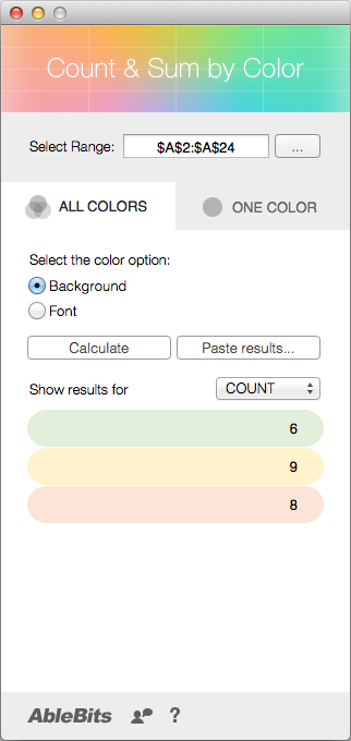 See the results on the app's pane grouped by colors.