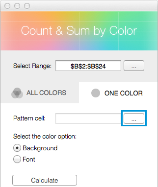 Click on the Select range icon next to the Pattern cell field.