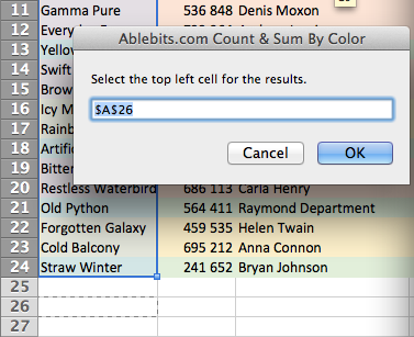 See the Count & Sum by Color dialog box.