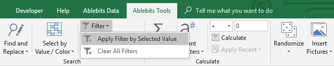 Apply filter in Excel.
