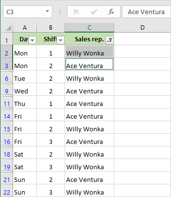 Filter by several cells in Excel.