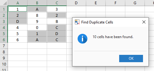 Find Duplicate Cells.