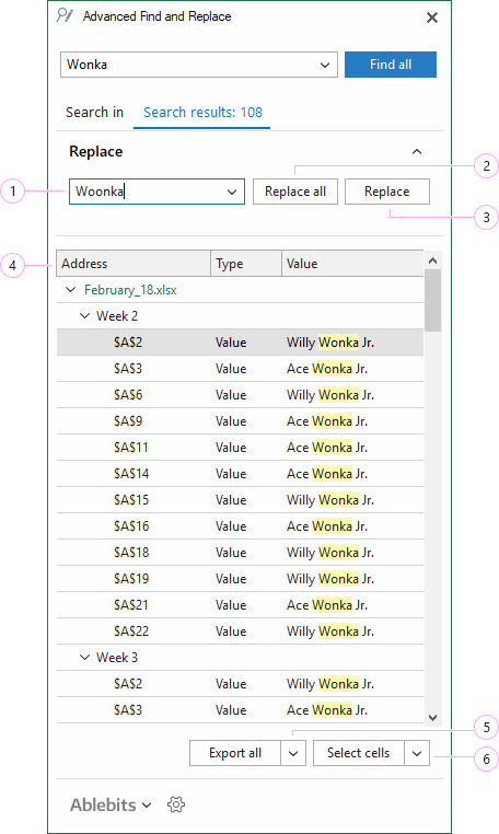 Search in Excel and replace, select, or export the found entries.
