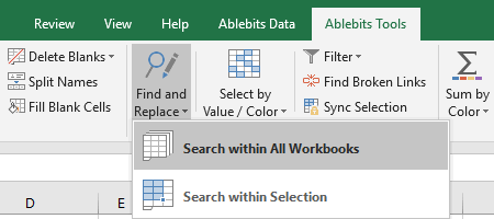 SChoose to search within all workbooks or a selection.