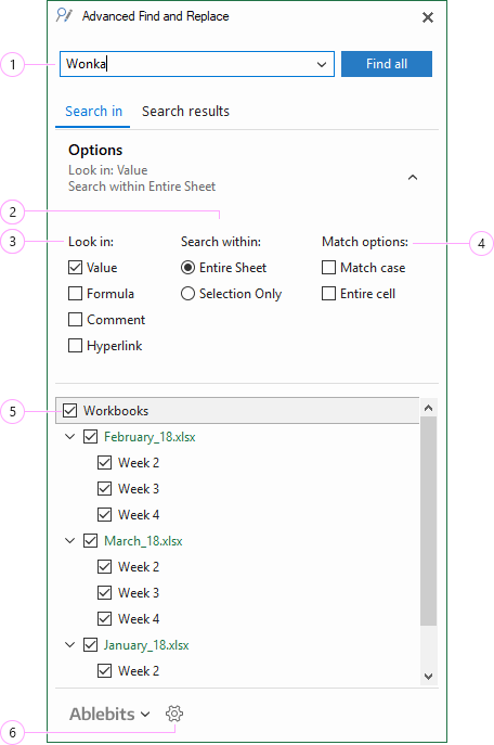 How to search in Excel workbooks.