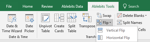 Click Flip on the Ablebits Tools tab and choose the way to reverse the data.