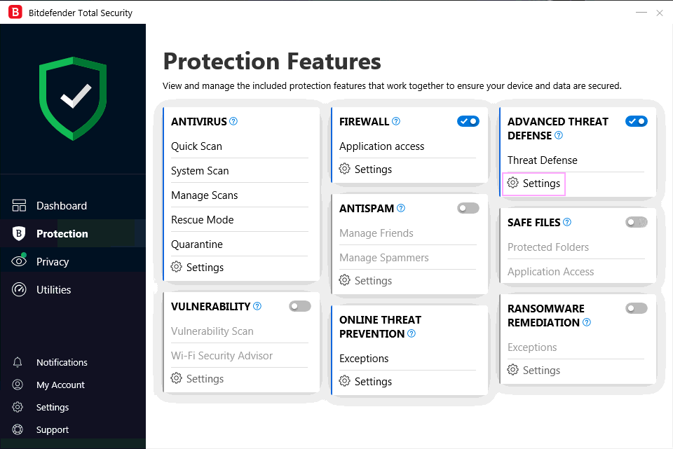 Bitdefender Protection Features.