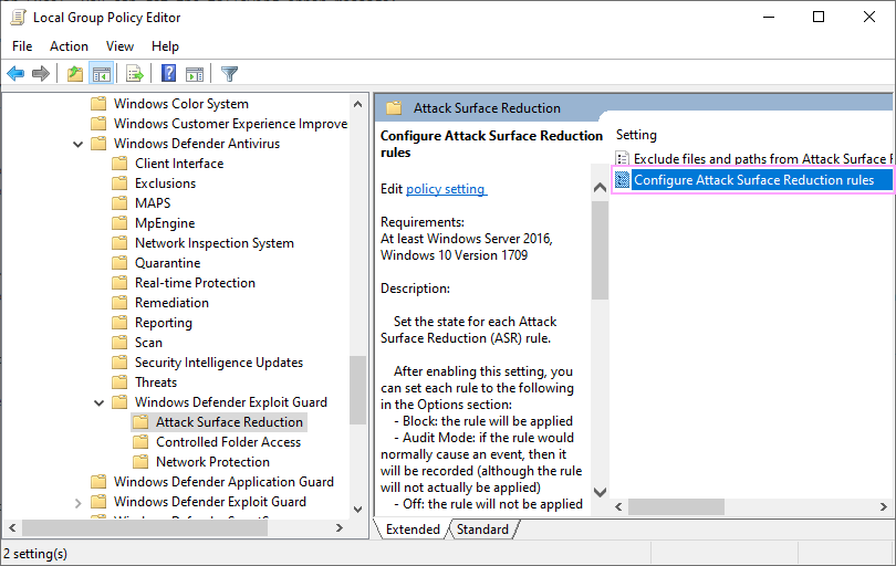 Configure Attack Surface Reduction rules.