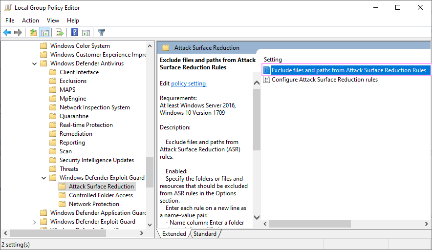Exclude files and paths from Attack Surface Reduction Rules.