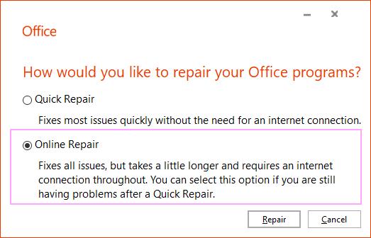 Online Repair.