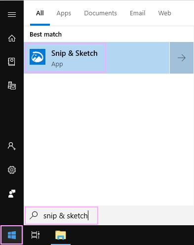 Find Snip & Sketch.