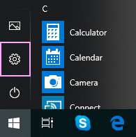 In the Start menu, click Settings.