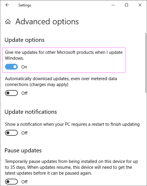 Give me updates for other Microsoft products when I update Windows.