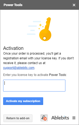 Enter your license key to activate your subscription.