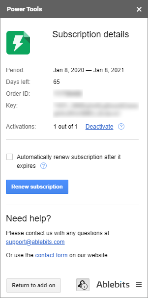 View your subscription details any time right from the add-on.