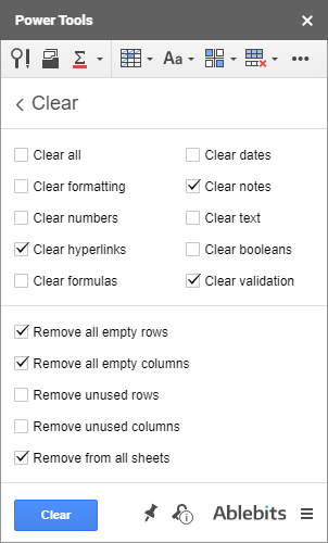 Clear data in Google Sheets