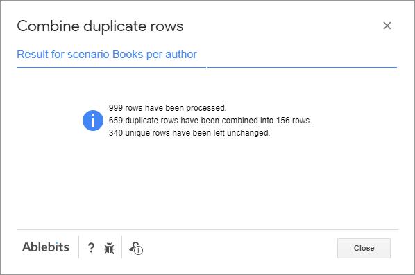 Result for the 'Books per author' scenario.