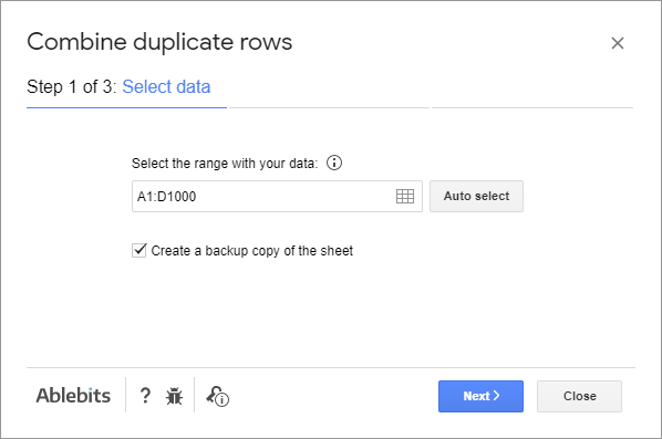 Pick the range with the data that contains duplicated rows.