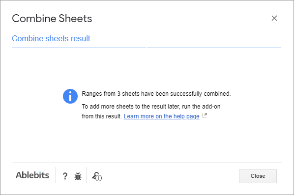 Add more sheets to the existing data – result message.