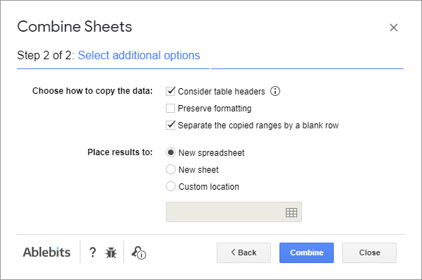 Use additional options to merge sheets.