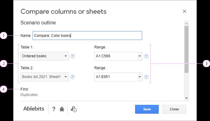Save the setting into the scenario for Compare Sheets.