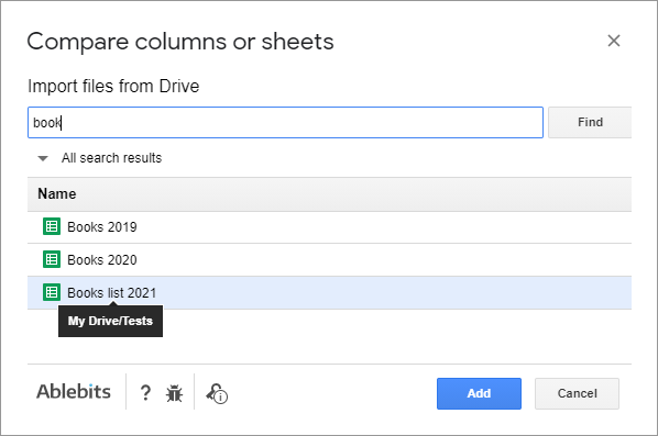 Import spreadsheets from Drive.