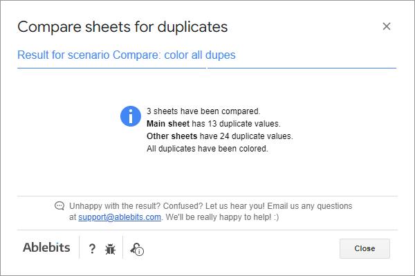 Result for the Compare Sheets scenario.