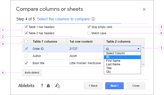 Choose columns you want to compare.