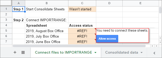 Allow IMPORTRANGE access to all spreadsheets you consolidate.