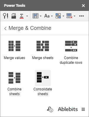 The Consolidate sheets icon in Power Tools.