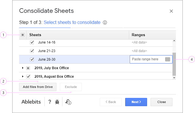 Select sheets to merge and calculate.