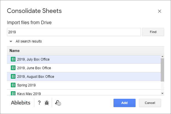 Select multiple files to consolidate in Google Sheets.