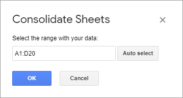 Identify the range to consolidate in Google Sheets.