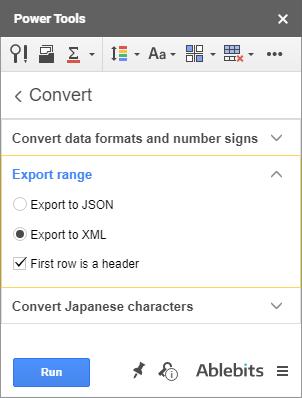 Export range to JSON or XML.