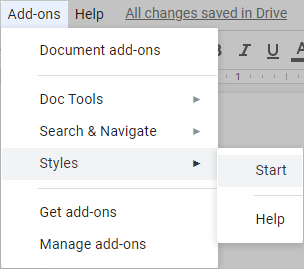 Start the add-on from the Google Docs menu.