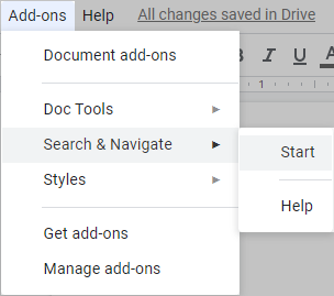 Run Search & Navigate from the Google Docs menu.