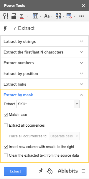 Extract data by mask in Google Sheets.