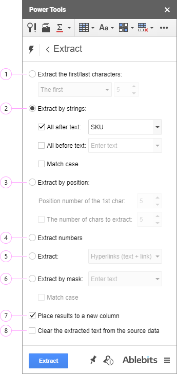 Seven settings to extract different types of data.