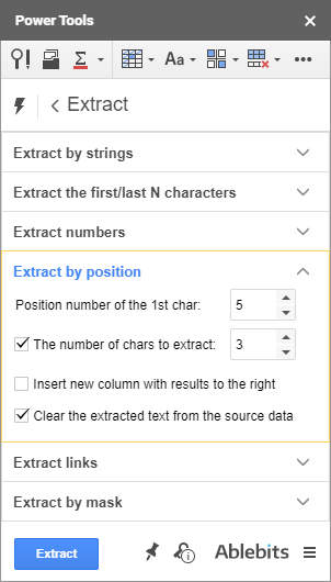 Extract data in Google Sheets by position.