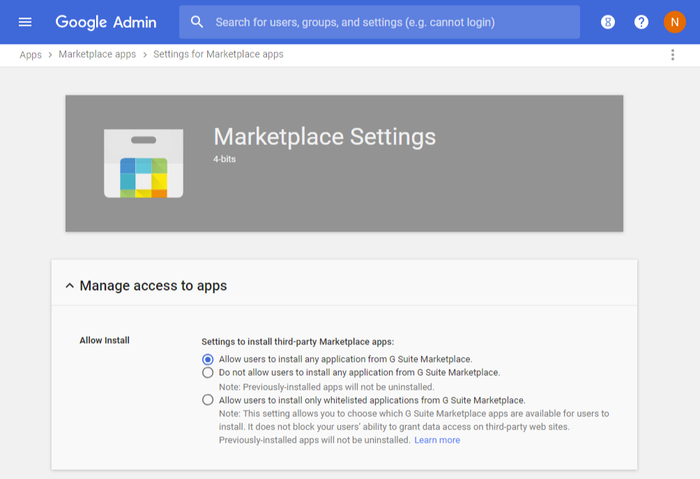 Allow users to install add-ons from Google Workspace Marketplace.