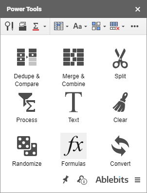 Click the Formulas icon on the Power Tools sidebar.