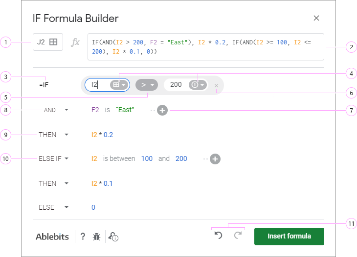 Build Google Sheets IF formulas using the add-on.