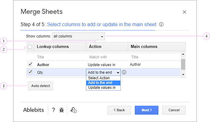 Choose the columns to add or update in the main sheet.