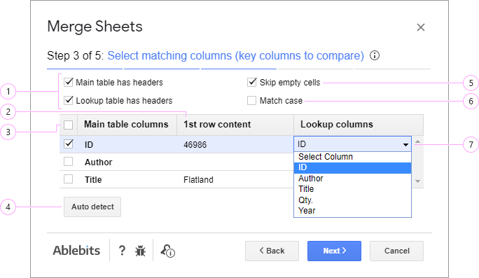 Identify key columns and their equivalents in the lookup table.