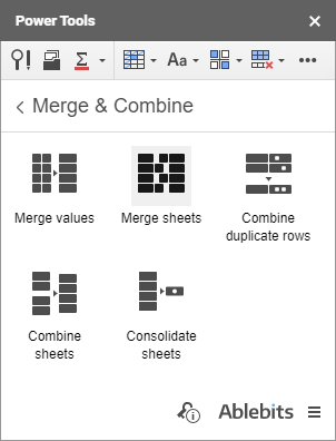 The Merge Sheets icon in Power Tools.