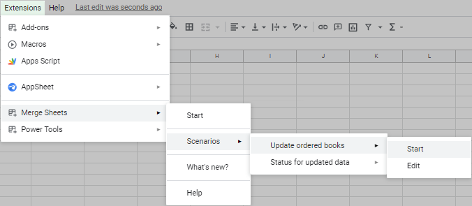 Start the necessary scenario from the spreadsheet menu.