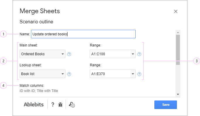Adjust settings for your scenario in Merge Sheets.